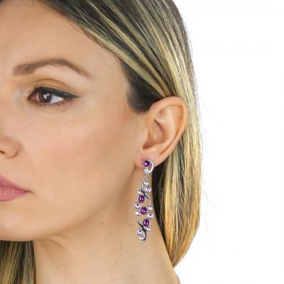 Earrings with Swarovski crystal, light amethyst and amethyst
