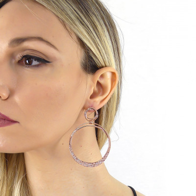 Rose gold-plated large hoop earrings with Swarovski