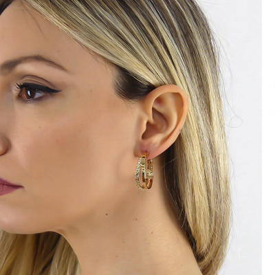 Yellow gold plated creole earrings with Swarovski