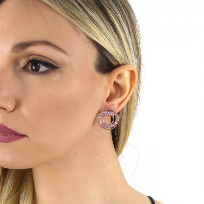 Rose gold plated earrings with concentric decoration and Swarovski