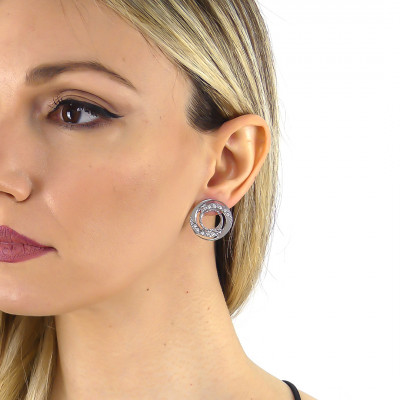Earrings with concentric decoration and Swarovski