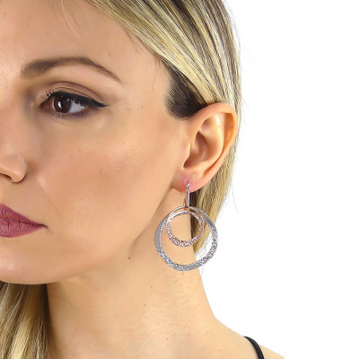 Double hoop earrings plated rose gold mobile with Swarovski