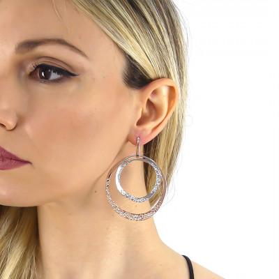 Two-tone double circle maxi earrings with Swarovski