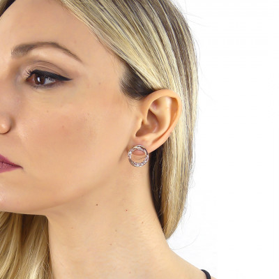 Rose gold-plated stud earrings with pendant circle and Swarovski