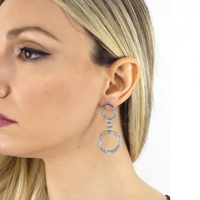 Earrings with dangling circles and Swarovski