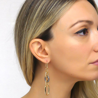 Yellow bronze and cotroned ruthenium chain earrings