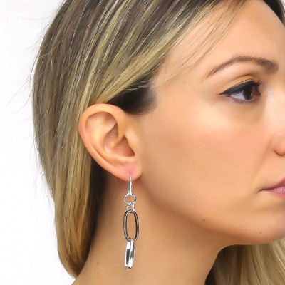 Silver and ruthenium chain earrings