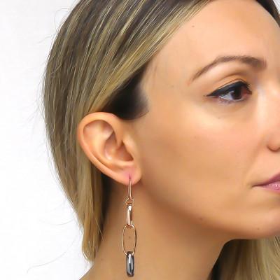 Drop earrings in pink bronze and ruthenium