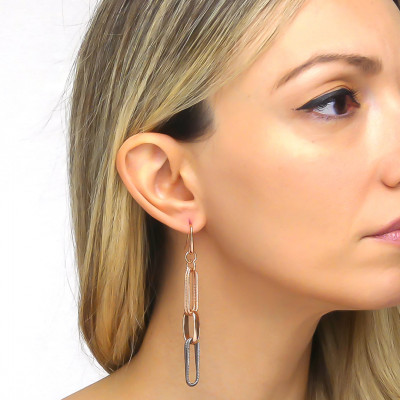 Pink bronze chain earrings with rope effect ruthenium