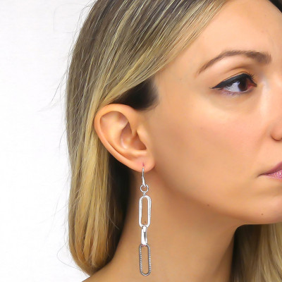 Silver chain earrings with rope effect ruthenium
