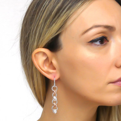 Silver and pink bronze roll mesh earrings
