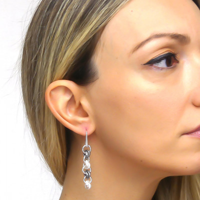 Silver roll and cotronate mesh earrings