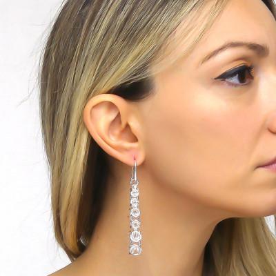 Small silver Byzantine link earrings