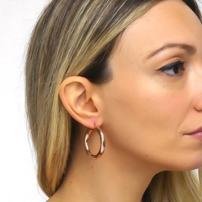 Full hoop earrings in pink bronze