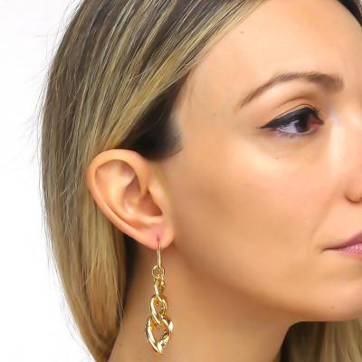 Degraded Curb earrings in yellow bronze