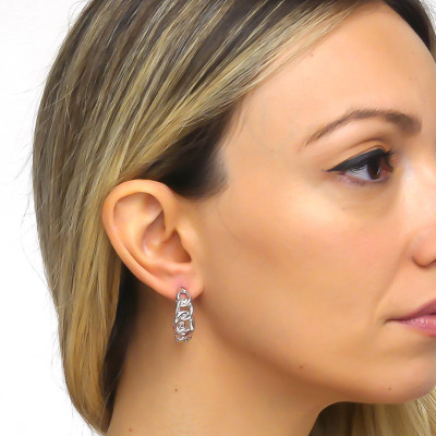 Crescent earrings with silver grumette