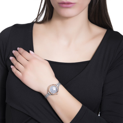 Wristwatch woman silver, with pink ring and Swarovski, cabochon crown