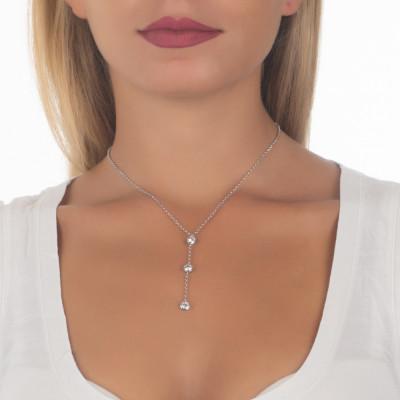 Necklace cravattino bicolor with zircons diamond cut