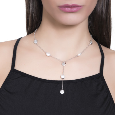 Necklace with Swarovski pearls and rhodium-plated circular elements with zircons