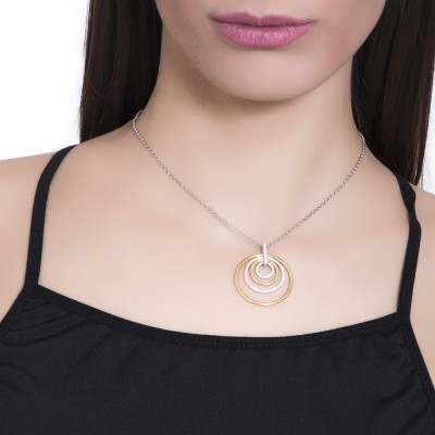 Silver bicolor necklace with concentric pendant and zircons