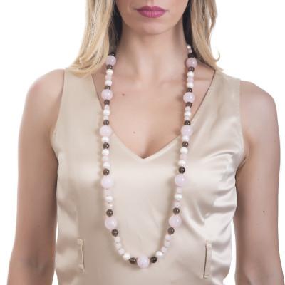 Long necklace with natural pearls, smoky quartz and rose quartz