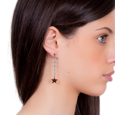 Earrings with green water crystals and final star