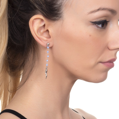 Earrings with light blue crystals and lucky charm