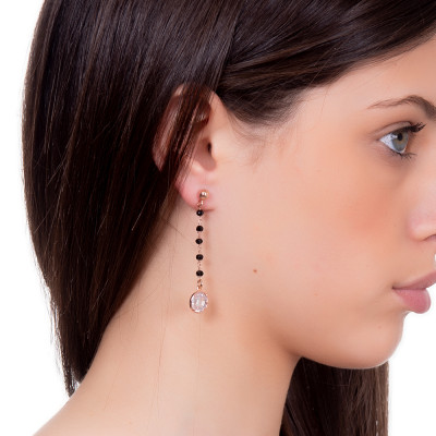 Rosé earrings with black crystals and crystal pendant