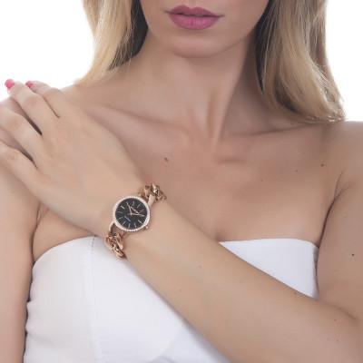 Wristwatch woman with black dial, Swarovski and groumette Bracelet