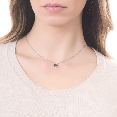 Necklace with heart and central strass