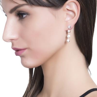 Two-tone pendant earrings