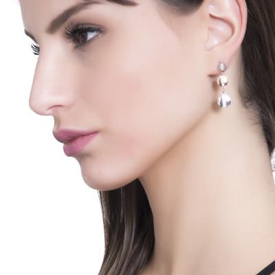 Two-tone dangle earrings with cubic zirconia