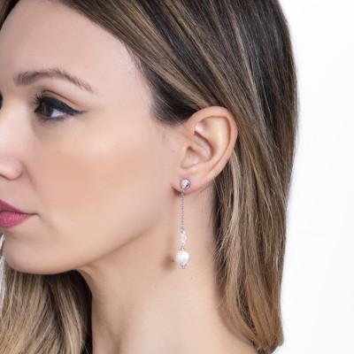 Earrings with white Swarovski pearls pendant
