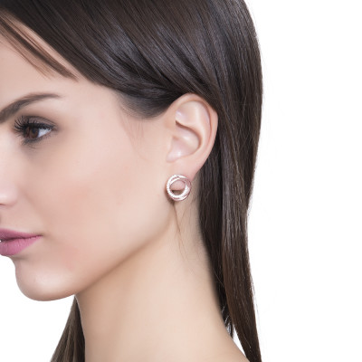 Pink gold plated circular lobe earrings with cubic zirconia