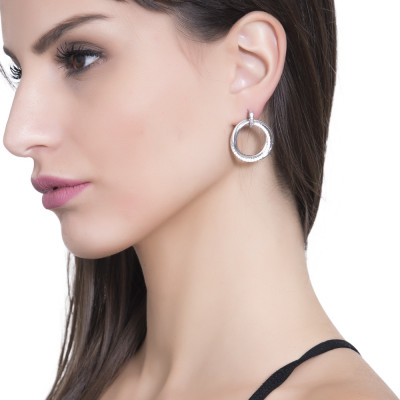 Silver hoop earrings with cubic zirconia