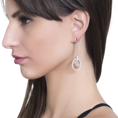 Drop earrings with concentric circles and zircons