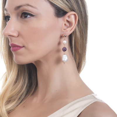 Drop earrings with natural pearls and amethyst