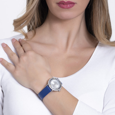 Silver watch with Swarovski and genuine blue leather strap