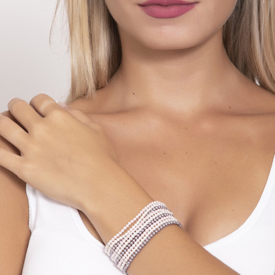 Bracelet soft band with strings of pearls, mauve, Rosaline and white