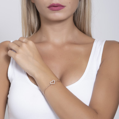 The semirigid Bracelet in pink with central heart in pavèdi strass