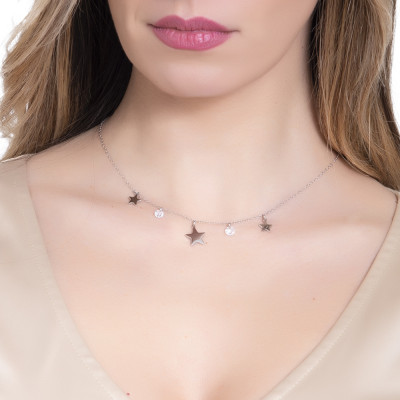 Necklace with rhodium-plated stars and zircons pendants