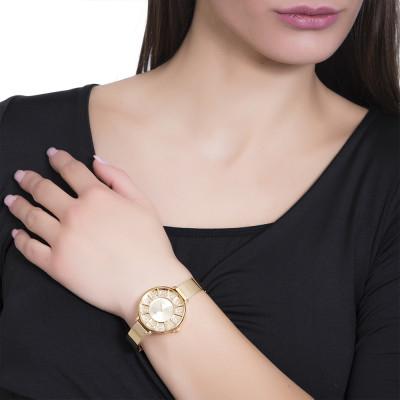 Gold watch with semi-rigid strap and Swarovski dial