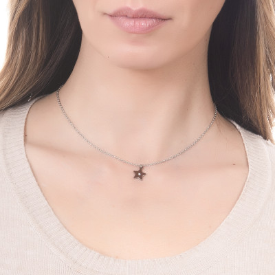 Steel necklace with pendant star and strass