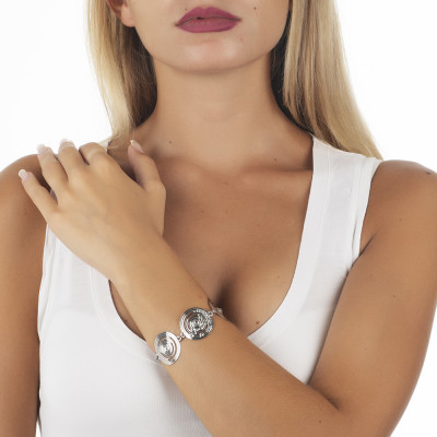 The semirigid Bracelet with decoration of inspiration Maya and Swarovski