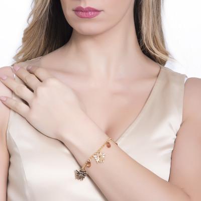 Bracelet with bees and Swarovski