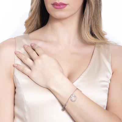 Bracelet with smooth navettes and Swarovski