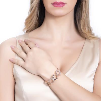 Rigid pink band bracelet with Swarovski pavè