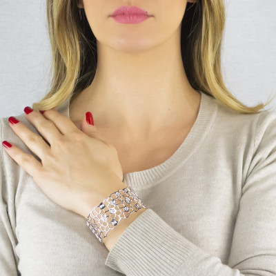 Rhodium-plated band bracelet with mesh and Swarovski weave