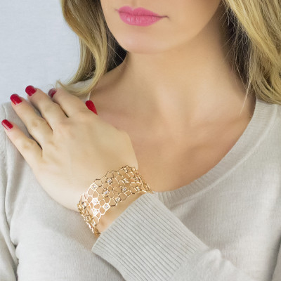 Gold band bracelet with mesh and Swarovski weave