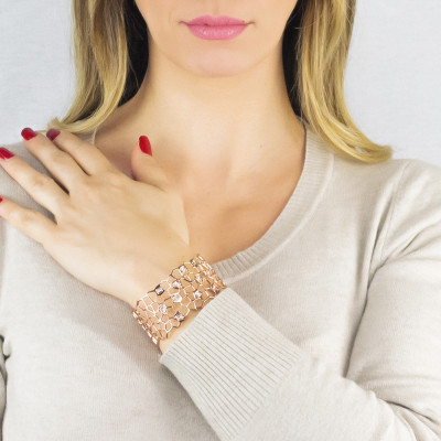 Pink band bracelet with mesh and Swarovski weave